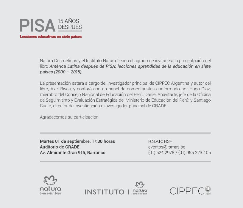 Perú Invitación a la presentación del libro América Latina después de PISA